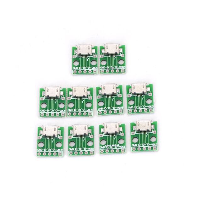 10pcs MICRO USB To DIP Adapter 5pin Female Connector Pcb Converter DIY Kit EL