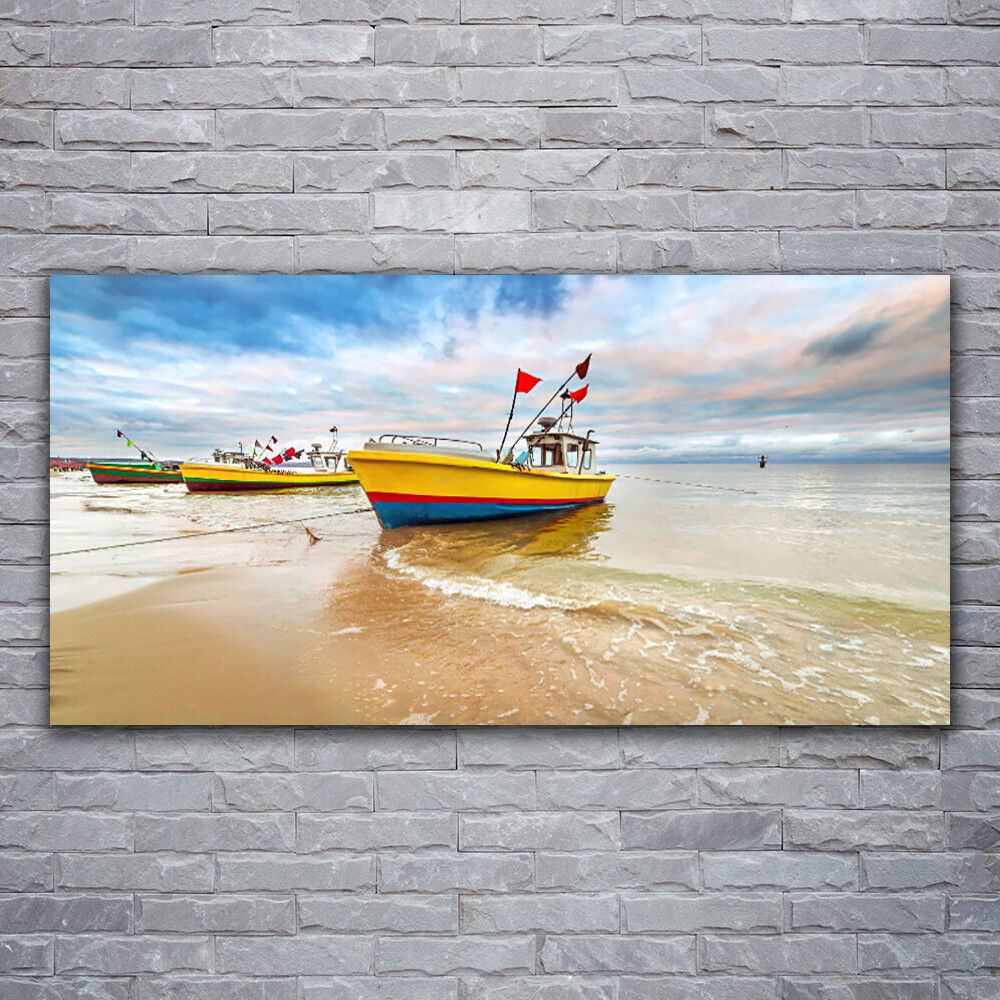 Wall art Print on Plexiglas® Acrylic 120x60 Boats Beach Sea Landscape
