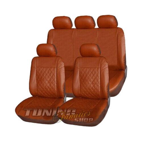 Pour de nombreux véhicules Premium cuir synthétique housse de siège Sitzbezüge Siège Marron Carreau Set