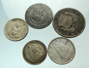 GROUP-LOT-of-5-Old-SILVER-Europe-or-Other-WORLD-Coins-for-your-COLLECTION-i75691