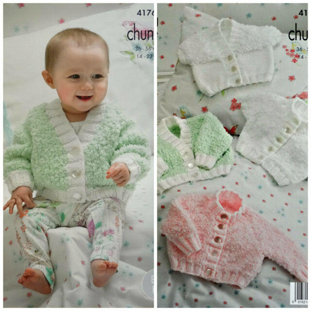 """King Cole 5296 Baby/'s Cardigans,Sweater Shawl 4Ply  Knitting Pattern Size 14-22/"""""""