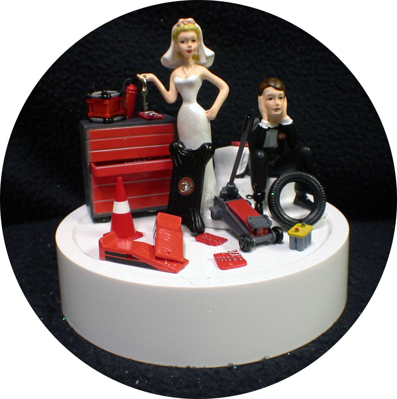 Car AUTO MECHANIC Wedding Cake Topper Groom top Tool Nascar racing Man Cave Fun