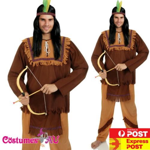 Details about  /Mens Noble Warrior Native American Indian Halloween Fancy Dress Adult Costume