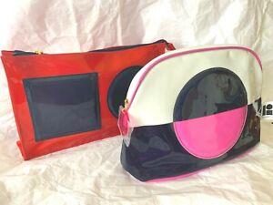 2pc Estée Lauder Lisa Perry Make Up Bag Satin Red,Blue,Pink