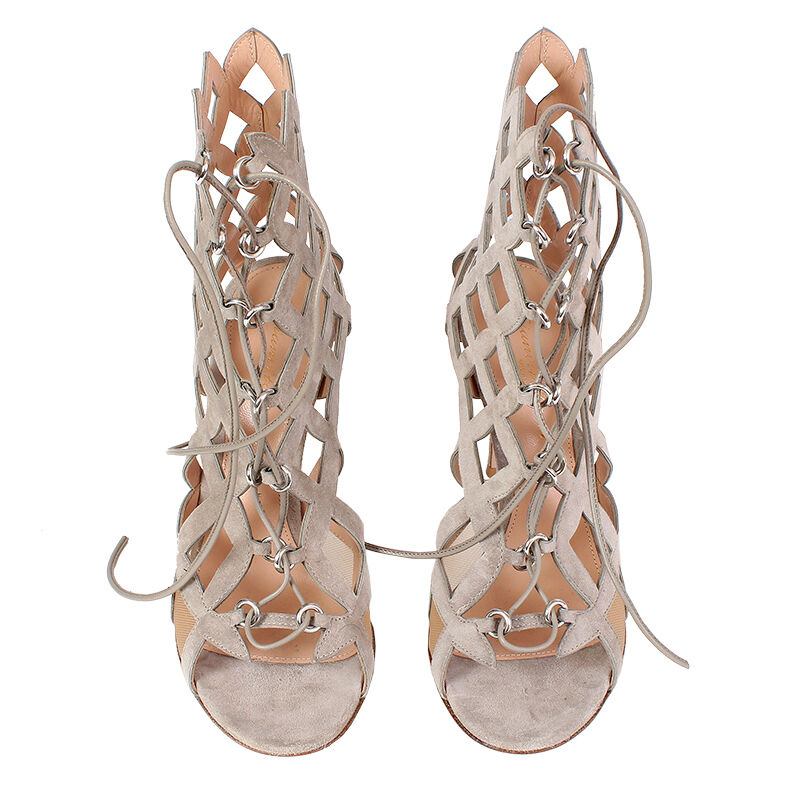 38230 auth GIANVITO ROSSI light taupe suede leather Lace-Up Sandals shoes 37 NEW