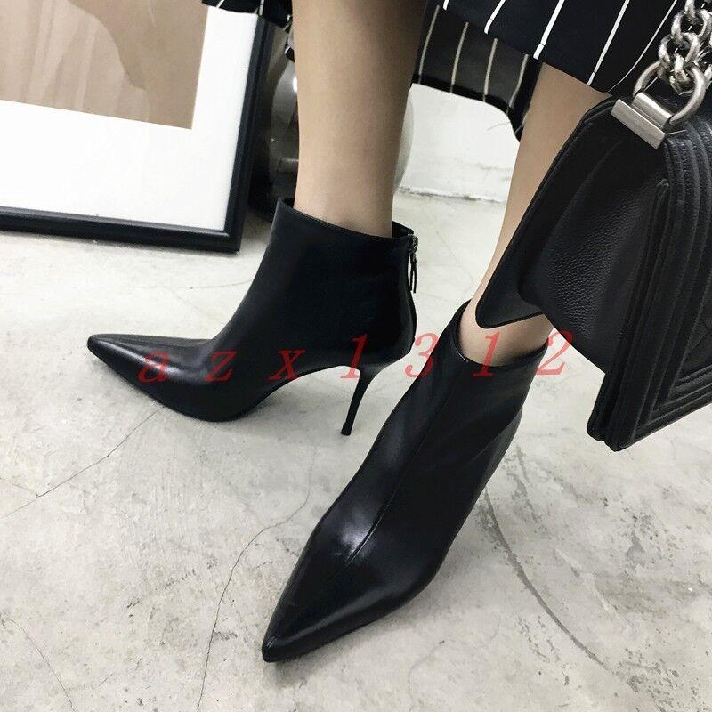 2019 nuevos elegantes mujeres Puntera Puntiaguda Zapato Taco Aguja Alto Talón Cremallera Y Correa En El Tobillo botas Zapatos