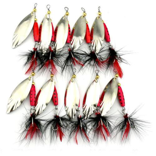 SP055 10PCS Feather Sequins Bionic Fishing Lure Crank Bait Base Hook Set  New