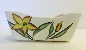 Vintage Ceramic Hand-Painted Planter Plant Potter w/ Floral Design Unique Shape!