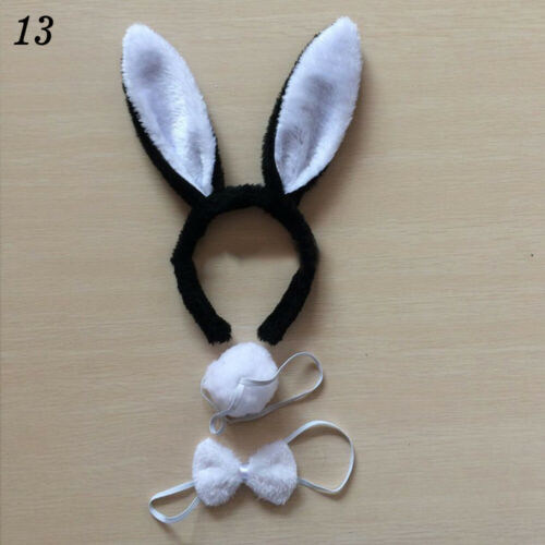 Shinny Plush Bunny Rabbit Headband Ears Tail Fancy Dress Bow Tie Set Party 3PCS