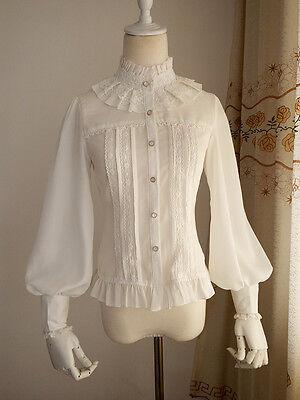 Japanese Vintage Sweet Lolita Lace Chiffon Shirt Puff sleeve Princess Blouse #3