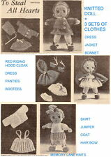 Vintage Knitted Doll + 3 Sets of Clothes Knitting Pattern Dress Jacket Bonnet