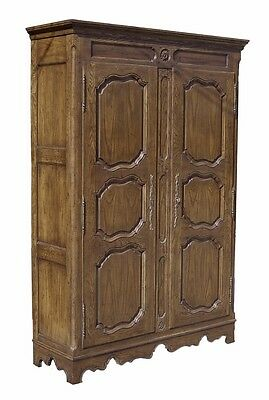 Baker Furniture Co. French Style Oak Wardrobe Armoire Cabinet w Shelves Drawers