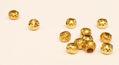 1 PC Pure 18k Gold Diamond Cut Loose Beads For Jewelry Finding #b10
