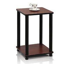 Table End Modern Side Nightstand Open Shelf Storage Dark Cherry Black Wood  New