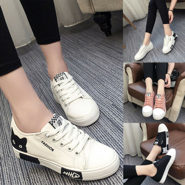 Women Casual Lace Up Canvas Flats Board Sneakers Fashion Cartoon Shoes Outdoor