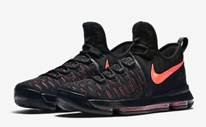 New Nike Men's Zoom KD 9 PRM Basketball shoes Black-Hot Punch 881796-060