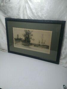Framed 1893 Signed J. Haller Etching of Cottage Quite Pool - Radtke Lauckner NY