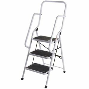 Tremendous Details About Folding Non Slip 3 Rung Steps Steel Ladder Tread Stepladder Safety Handrail Alphanode Cool Chair Designs And Ideas Alphanodeonline
