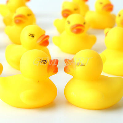 200 Mini Yellow Bathtime Rubber Ducks Bath Toy Squeaky Water Play Kids Toddlers