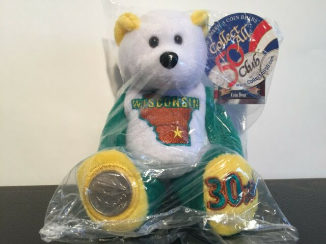 """STATE COIN BEARS-LIMITED TREASURES 9/"""" BEARS W//COIN ON FOOT-#44 WYOMING"""