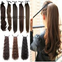 New Clip In Ponytail Pony Tail Hair Extension Wrap On Hair Piece Straight Style
