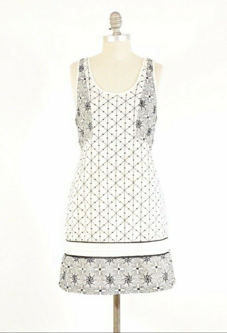 Free People Dress S White Embroidered Linen Scoop-Back Sleeveless Mini Shift