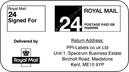 Royal Mail 24 48 Standard /& Signed For PPI Labels Return Address Stamps 21s
