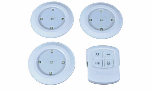 BRAND NEW Set of 3 LED Push Lights with Remote Control