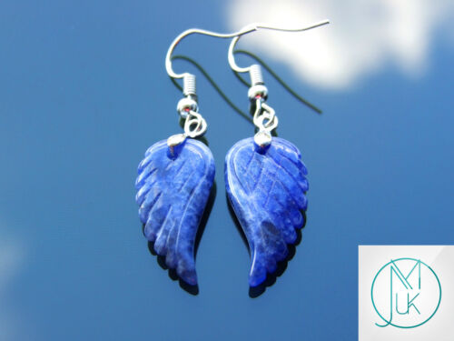 Sodalite Angel Wing Gemstone Earrings Natural Quartz Chakra Healing Stone Reiki