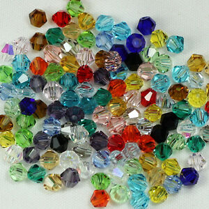 Wholesale 100pcs Faceted  Crystal Fingings Loose Bicone Spacer Beads 4mm U Pick