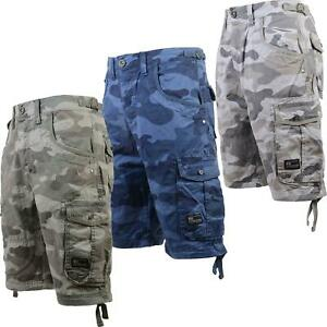 Mens-S-amp-J-By-Crosshatch-Military-Cargo-Combat-Camo-Army-Bermuda-Shorts-Pants-New