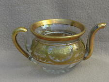 ANTIQUE GOERGIAN FRENCH BACCARAT BOHEMIAN CUT GLASS GILDED TEAPOT EMPIRE STYLE