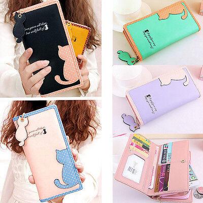 Fashion Women Girl Purse Long Wallet Card Holder Zip Cat Phone Handbag Bag