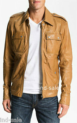 Custom Tailor Made All Sizes Genuine Leather Jacket Tan Yellow Stud Buttons