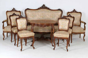 Details Salongruppe Barock Um 1860 Tisch Dresdner Stühle Sofa Zu Rokoko Sessel bfg76Yy