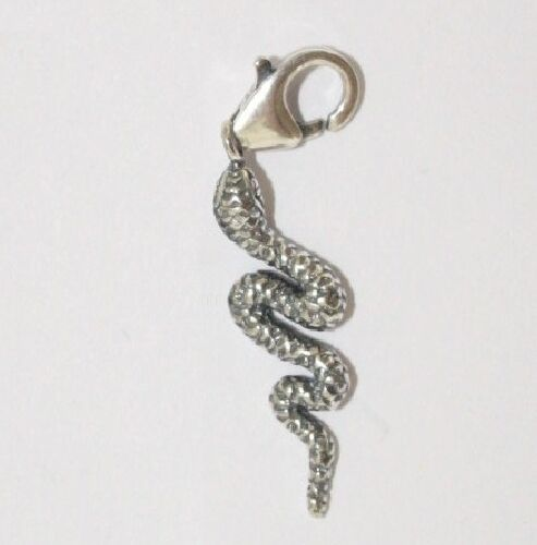 Genuine Solid 925 sterling silver clip-on charm//pendant Animal SNAKE Serpent