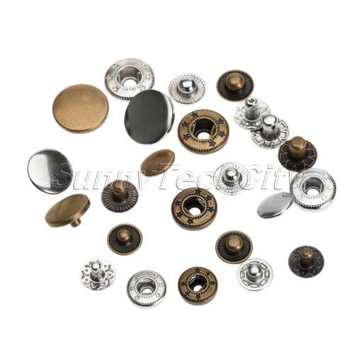 50Pcs Metal Snap Fasteners Poppers Pression à coudre bouton Rivet Bouton Craft