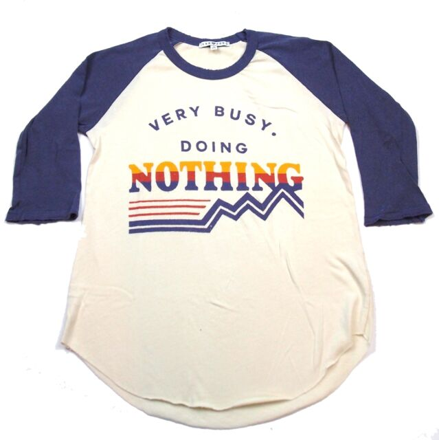 Very Busy Doing Nothing Baseball Style  Junior's 3/4 Sleeve Shirt Junk Food