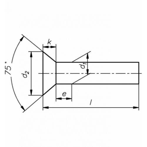 Messing blank 100x DIN 661 Senkniete 4x30