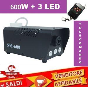 Macchina-Fumo-FOG-Telecomando-Effetti-Luce-600W-Watt-3-LED-NEBBIA-DISCOTECA