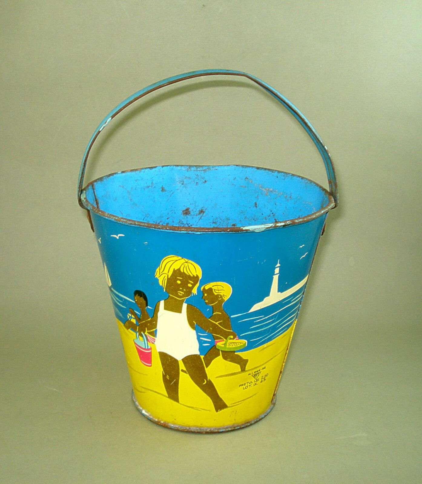 1960's VINTAGE OLD OLD OLD ROMANIAN AMT SAND PAIL TIN TOY 56bcfa