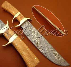 BEAUTIFUL CUSTOM HAND MADE DAMASCUS STEEL HUNTING BOWIE KNIFEOLIVE WOOD HAND