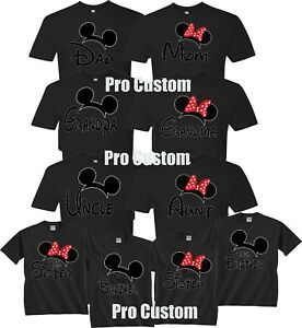 Details About Mom And Dad Family Mickey Minnie Head Disney Birthday Customized Black T Shirts