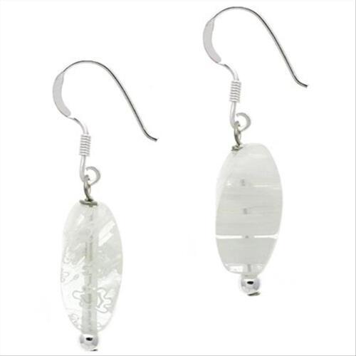 925 Argent Blanc Millefiori Murano Glass Bead Dangle Earrings