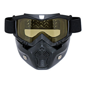 Motorcycle Amber Helmet Riding Protect Face Mask Shield Nose Ski Scooter Goggle