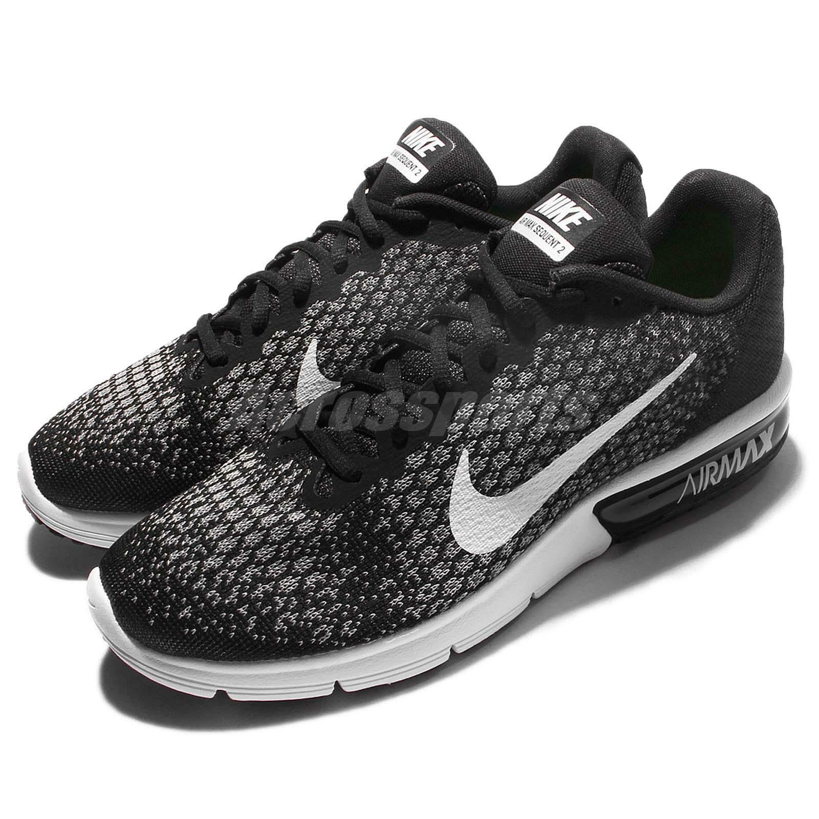 Nike Air Max Sequent 2 II Black White Men Running shoes Sneakers 852461-005
