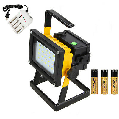 Portable 24x LED 30W Flood Light Spot Outdoor Work Lamp Rechargeable 3x 18650