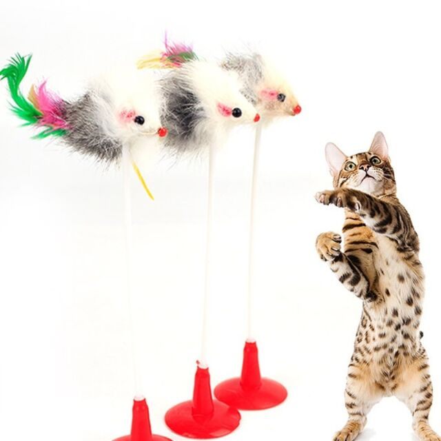 Cat Toys Feather False Mouse Bottom Sucker Cat Kitten Playing Pet Toys Supplies