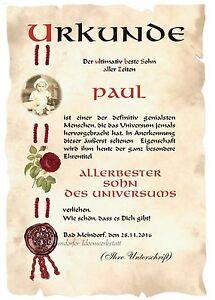 Urkunde Ultimativ Bester Sohn Din A3 F2 Valentinstag Geburtstag Ebay