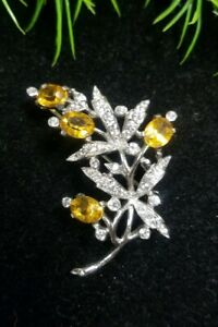 Vintage-TRIFARI-Alfred-PHILIPPE-Sterling-Sign-FLOWER-Pin-Brooch-Citrine-Clear-RS